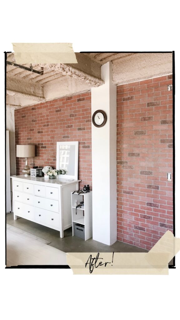 faux brick wall DIY