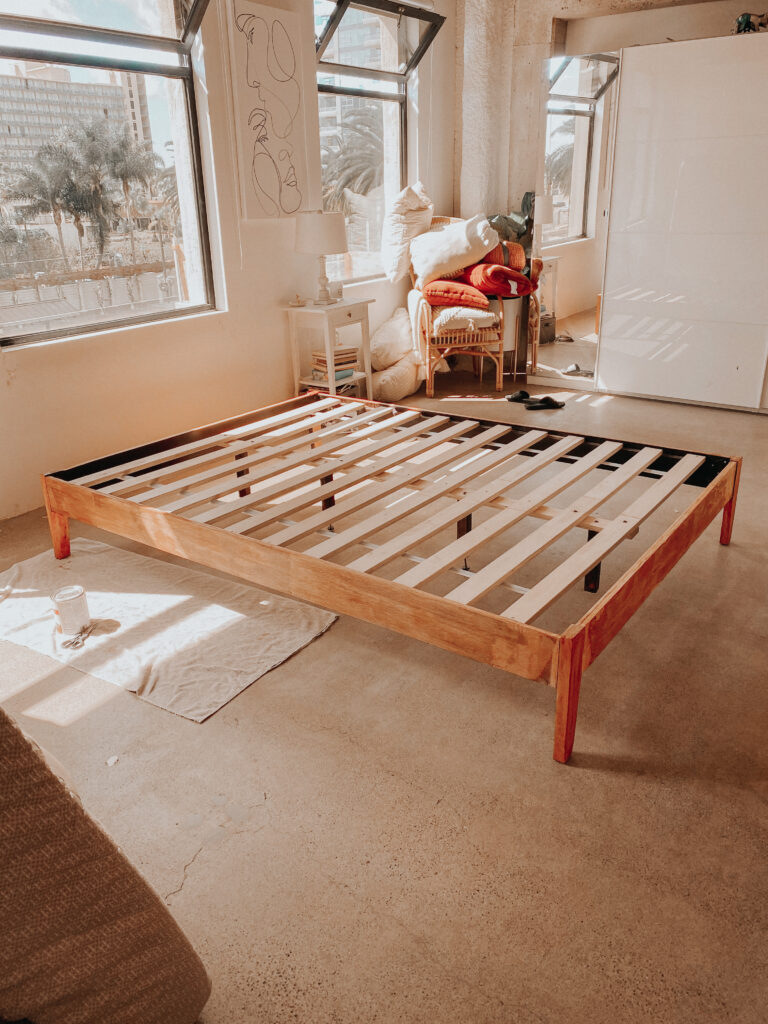 how to refinish a wood bed frame