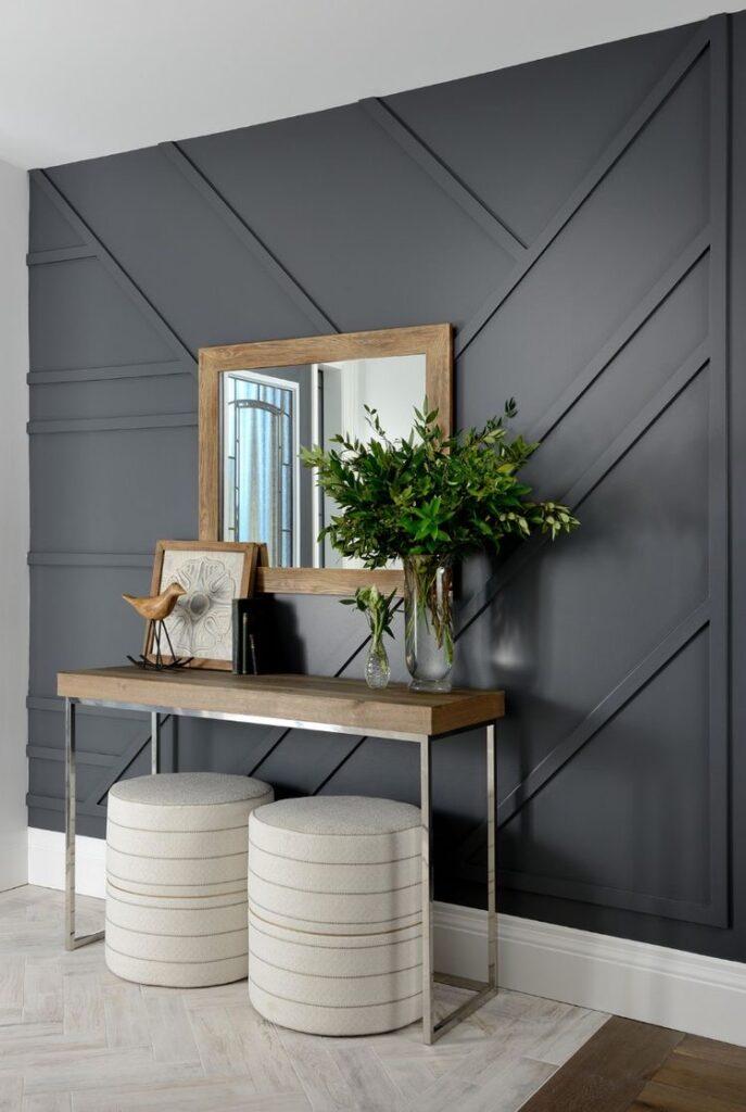 Geometric Wood Trim Wall Accent Idea