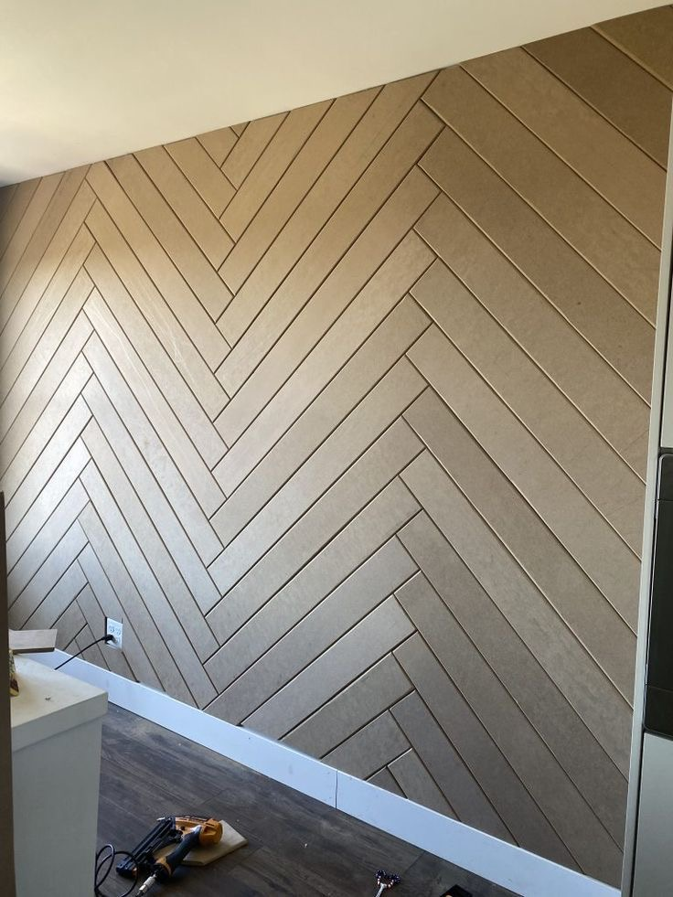 Herringbone panels accent wall ideas